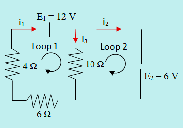 Arah arus dan arah loop rangkaian 2 loop