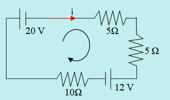 Arah loop dan arah arus rangkaian 1 loop