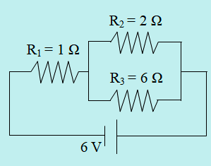 Rangkaian seri paralel resistor dihubungkan dengan sumber tegangan