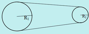 Dua roda dihubungkan bersinggungan