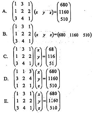 Pilihan jawaban soal UN matematika 2019 IPS nomor 3
