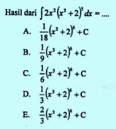 Contoh soal integral substitusi